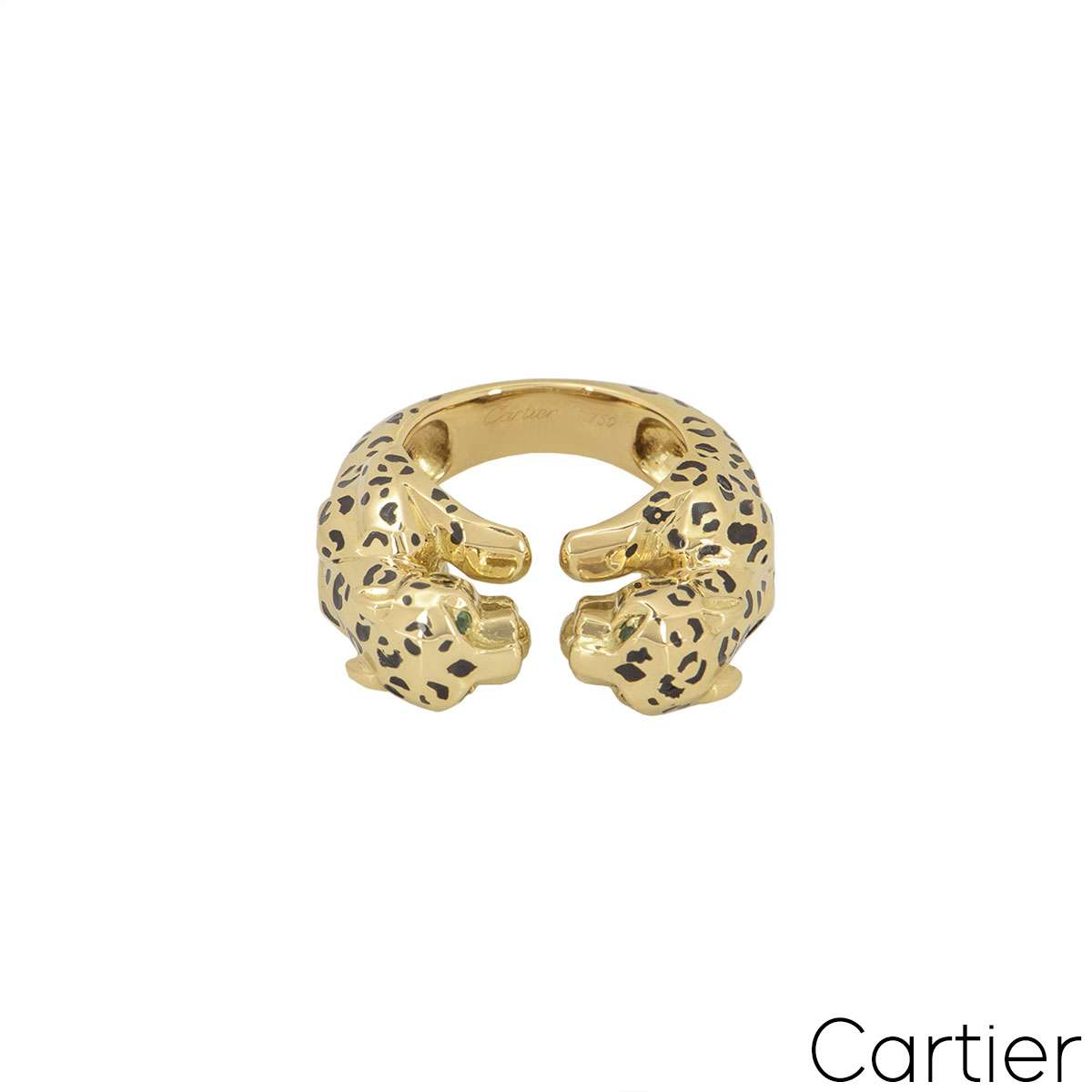 Cartier Yellow Gold Enamel Double Panthere De Cartier Ring